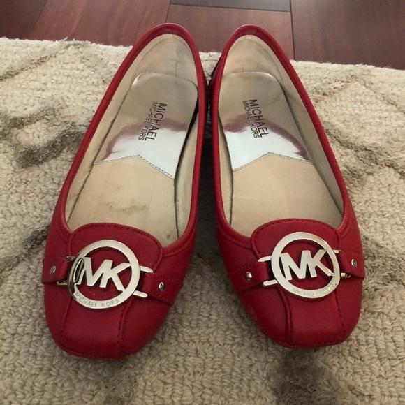 Mk Michael Kors Red Flat Shoes